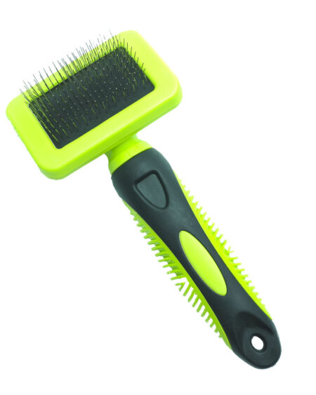 SMART COAT CURVED SLICKER BRUSH  SMALL GREEN HANDLE