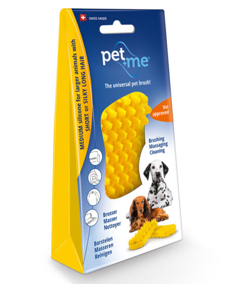 PETWAY PET + ME YELLOW BRUSH MEDIUM