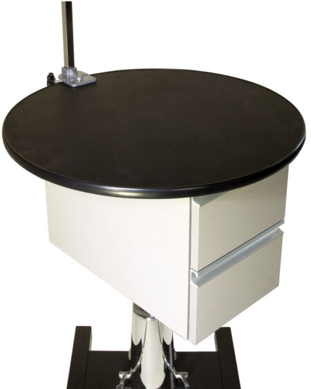 AEOLUS ROUND HYDRAULIC TABLE WITH STORAGE CABINET